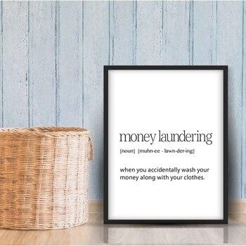 Lavado de definición de dinero imprime la decoración de la sala de lavandería cartel minimalista moderno Cartel de la pared de la sala de lavado pintura en lienzo