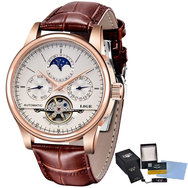 LIGE Brand Classic Mens Retro Watches Automatic Mechanical Watch Tourbillon Clock Genuine Leather Waterproof Military Wristwatch 5