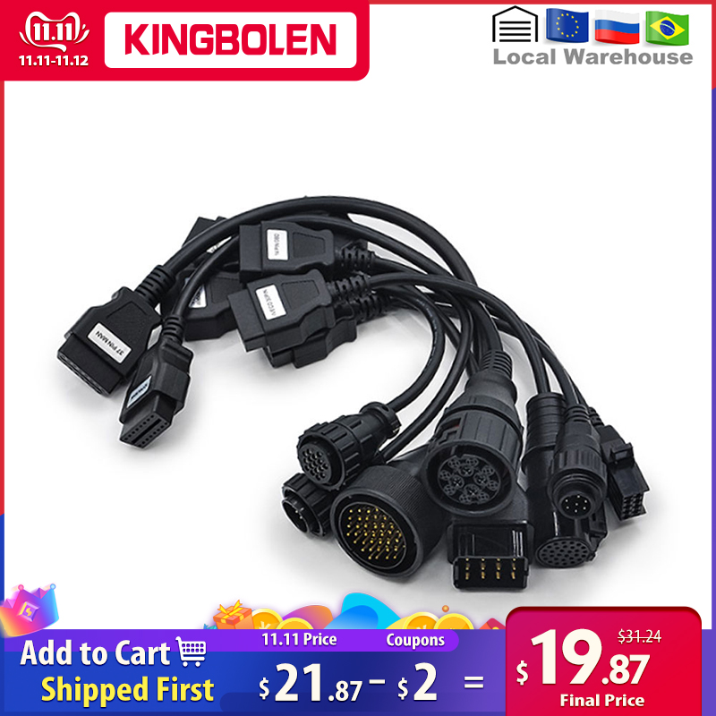 Truck Cables for CDP TCS PRO PLUS Multidiag pro MVD 8pcs Cables Truck cables to OBD 16pin Diagnostic tool connector