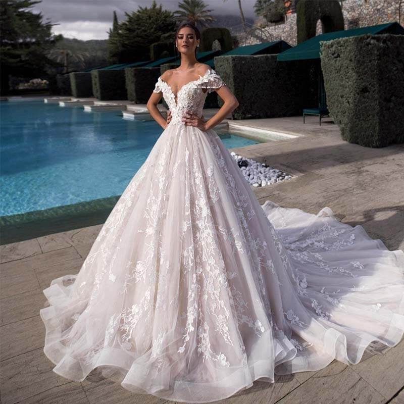 Robe De Mariee Sexy Illusion Boat Neck A Line Wedding Dress Off Shoulder Tassel Sleeve Lace Appliques Wedding Bridal Gown