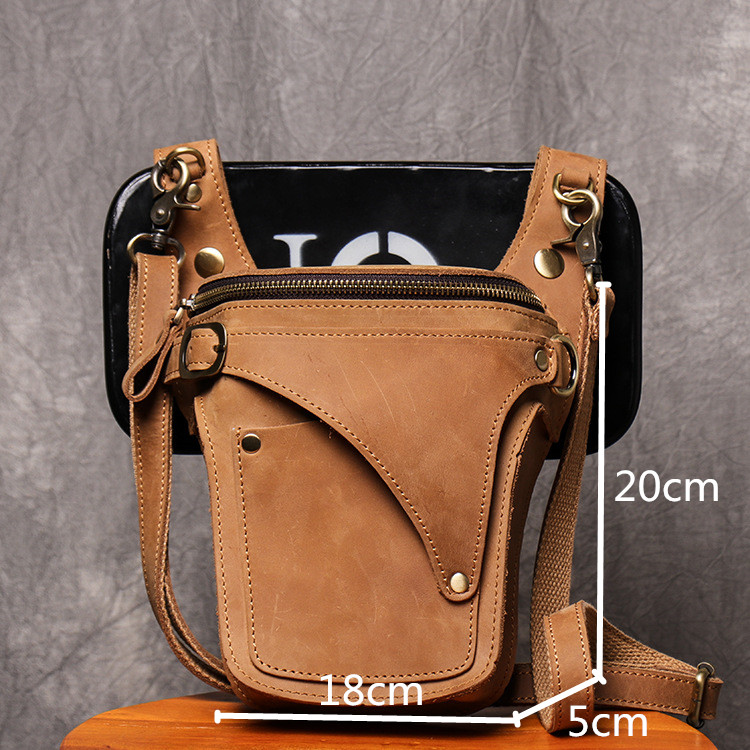 Ανδρική δερμάτινη τσάντα ζώνης μέσης τσάντα ώμου messenger τσάντα ρετρό msow