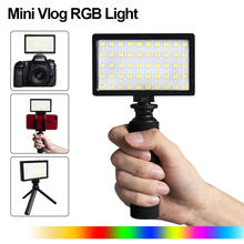 CL-120C 3200 K-5600 K Mini vlogg LED Video luz trípode Kit CRI 95 regulable colorido RGB Luz de relleno iluminación fotográfica(China)