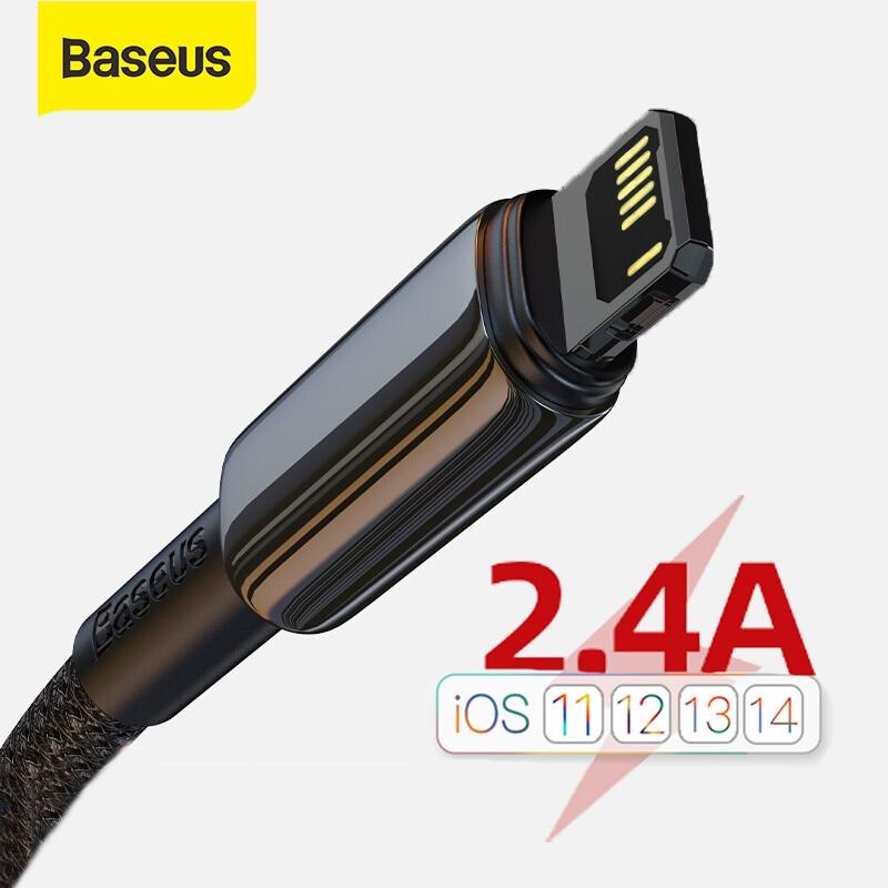 Baseus 2.4A kabel USB do iPhone 12 11 Pro Max XR Xs X kabel szybki kabel ładujący do iPhone 11 ładowarka USB do linii danych oświetleniowych
