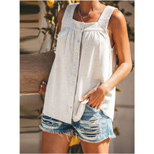 2021 New Summer Women'sFashion Casual Sleeveless Plus Size Pure Color Square Collar Loose Comfortable Tank Top Clothing
