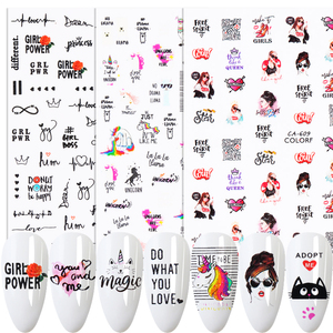 1pcs Lovely Nail Stickers 3D Sexy Girls Lips Letter Sliders DIY Self Adhesive Decals Manicure Nails Decoration Tips BECA608-653