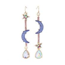 Brincos modernos boêmios, joias da moda para mulheres de betsey johnson, lua azul e estrela, brincos com borla, para mulheres