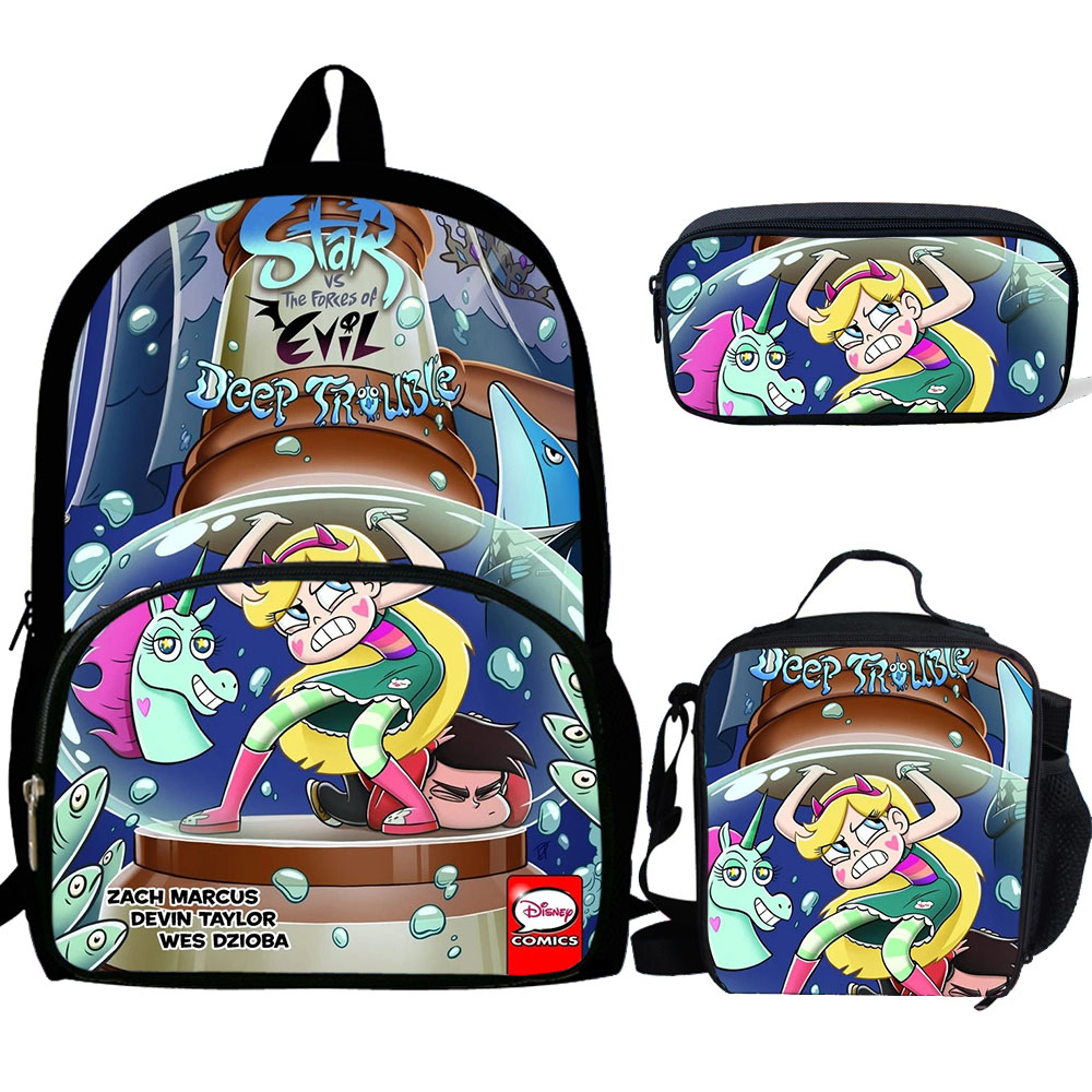 Star Vs The Forces Of Print Backpacks Children Bookbag Boys School Bag Mochila Girls Daily Shoulder Luch Bag Set Pencil Croobody