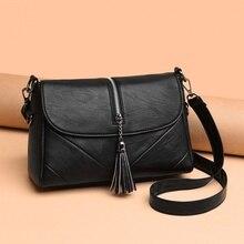 긴 스트랩과 작은 여자의 어깨 가방 여성 어깨 위에 고품질 pu 가죽 봉투 술 크로스 바디 가방