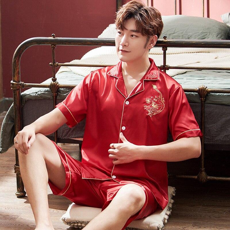 Повседневная 2шт пижамы костюм мужчины пижамы атласные пижамы установить пижамы с коротким рукавом сна к 2020 году новые пижамы домашняя одежда ночной рубашке