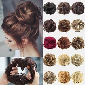 1 шт., кудрявые шиньон для девочек с резиной, коричневый, серый, синтетические волосы, кольцо, обертывание на грязные конские хвосты