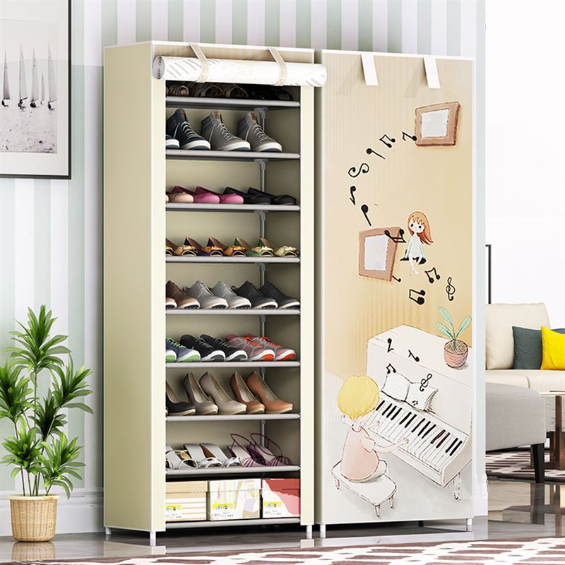 9 Layers Shoe Rack Nonwoven Fabric Home Shoes Storage Organizer Easy To Install Shoe Cabinet Stand Holders Space-saving Closet