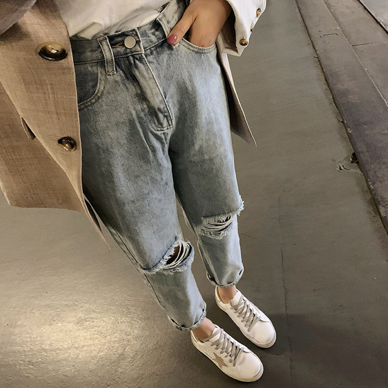 Fa8812-1 2019 New Autumn Winter Women Fashion Casual  Denim Pants High Waisted Jeans Womens Clothing