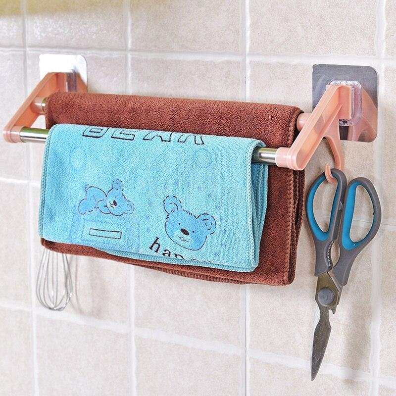 Optimized Stainless Steel Bathroom Towel Holder Wall-mounted Towel Rack Bathroom Kitchen Accessories Double Towel Rack