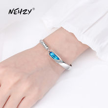 NEHZY 925 sterling silver new woman fashion jewelry high quality blue crystal zircon retro simple hot selling DIY bracelet