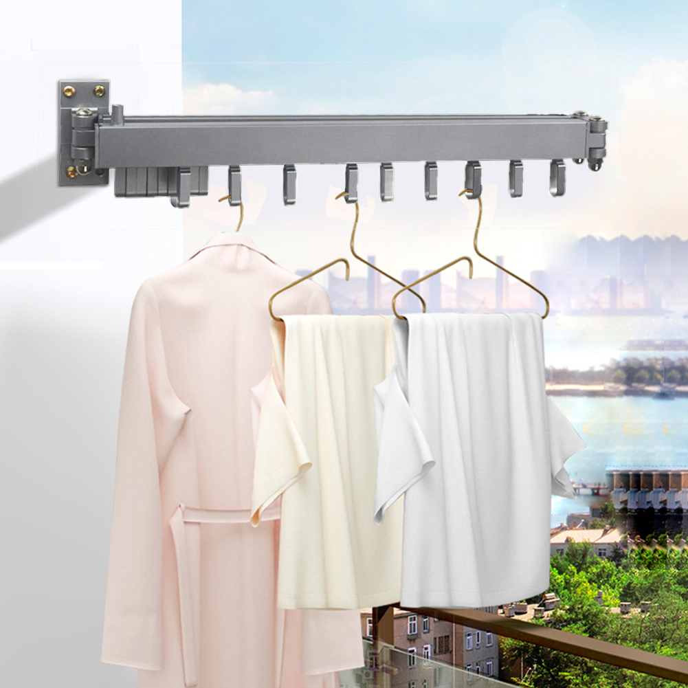 Multifunction Kitchen Bathroom Storage Holders Foldable Wall Hanging Clothes Drying Rack Indoor Balcony Retractable Hanger Racks