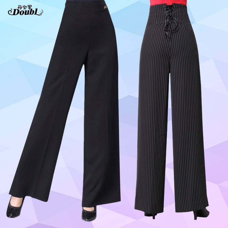 DOUBL  New Style Latin Dance Pants Standard Dancing Ballroom Competition High Waist Dance Practice Fashion Elegant Striped Black