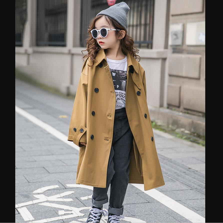 Girls   trench   coats kids windbreaker 2019 spring autumn new teenage long coats outerwear for children clothes 4-14Y ws959