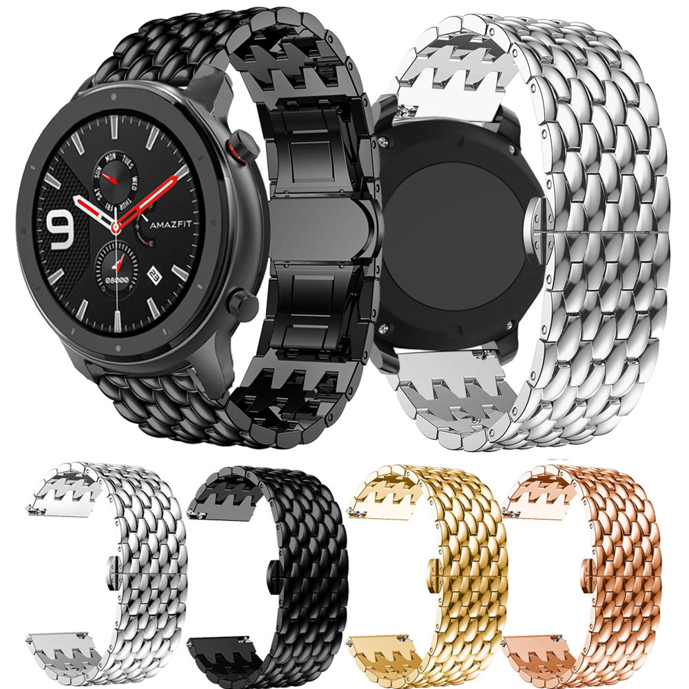 For Huami Amazfit GTR 47mm Stainless Steel Band Strap Alloy Metal Replacement Watch Band Dragon Scale Bracelet Wristband 22mm