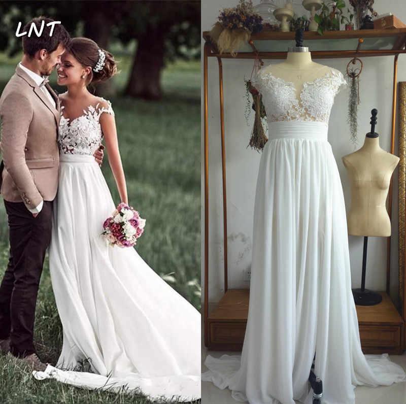 Cap Sleeves Boho Wedding Dress With Slit Flowy Beach Bridal Dresses Wedding Dresses Aliexpress