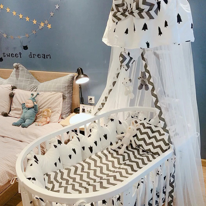Baby Bed Furniture Ins Crib Solid Wood Round Bed Multifunctional Stitching Large Bed Bb Bed Twin Bed Middle Bed