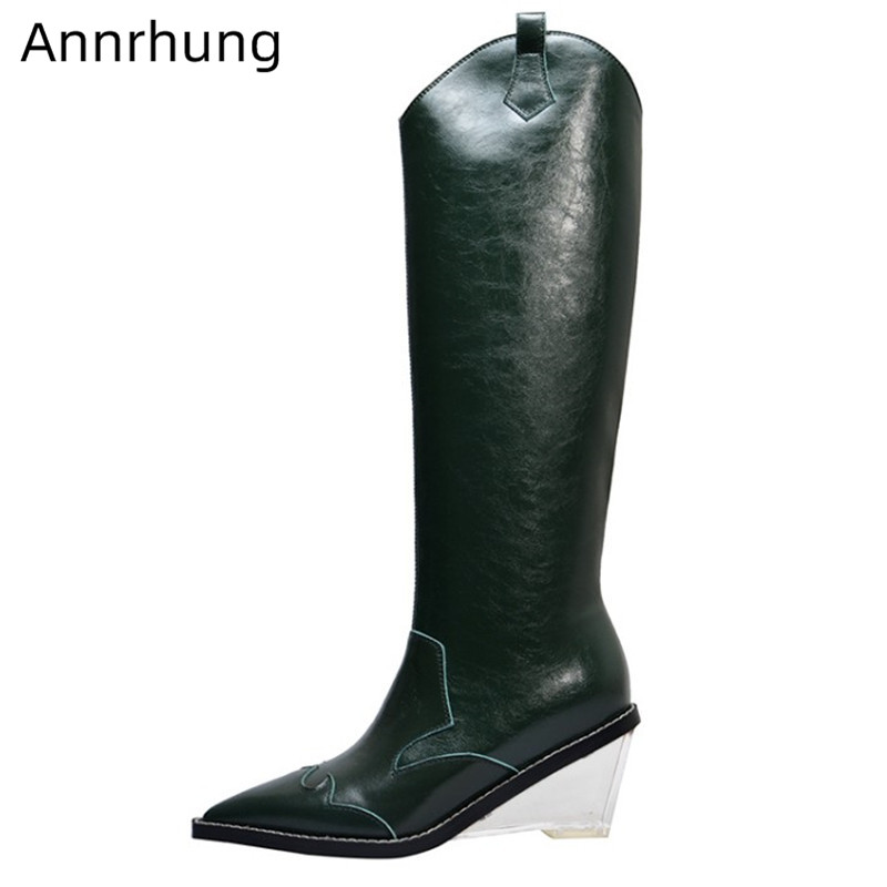 Green Riding Boots Women Solid Genuine Leather Botas Point Toe Clear High Wedges Heel Bottes Side Zip Slim Knee High Boots Woman
