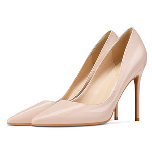 Image 5 - Marke Schuhe Frau High Heels Damen Schuhe 10CM Heels Pumps Frauen Schuhe High Heels Sexy Schwarz Beige Hochzeit Schuhe stiletto B 0043