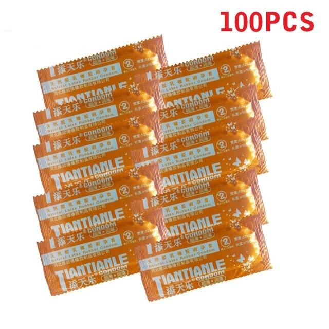 100 Pcs 콘돔 성인용 대형 오일 콘돔 부드러운 윤활 콘돔 남성용 음경 피임 섹스 토이 섹스 제품