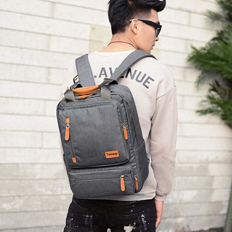 Men's Canvas Backpack Laptop Bookbag Casual Rucksack Large Capacity Travel Casual Daypack for Teenagers F42A