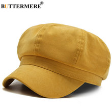 Buttermere yellow women hat autumn winter newsboy hats for solid