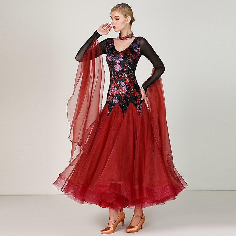 Standard Ballroom Dresses Women 2020 New Style Long Sleeve Lycra Waltz Competition Dancing Skirt Adult Red Ballroom Dance Dress