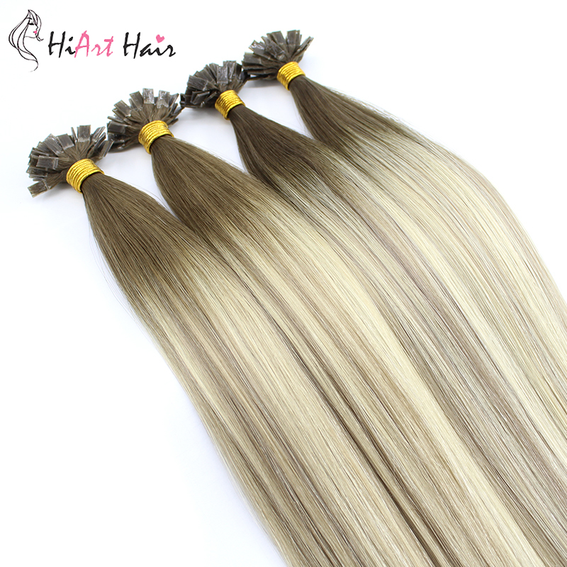 HiArt 0.8g/s Flat Tip Hair Extensions Salon Double Drawn Human Remy Hair Factory Keratin Capsules Extension Straight Balayage 2