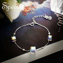Special Brand Fashion 925 Sterling Silver Bracelets & Anklets Luxury Chain Foot Jewelry Crystal Gifts for Women S1607T