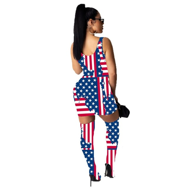 Sexy Fashion Women Mini Dress Included Knee Socks Digital Floral Printed American Flag Dollar Summer Outfits Club Party Sundress 3