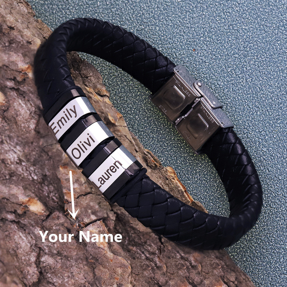 Personalized Genuine Leather Braided Rope Bracelets For Mens Custom Name Bracelets 1-9 Names Beads Jewelry Gift With Gift Box