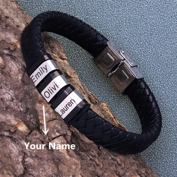 Personalized Genuine Leather Braided Rope Bracelets For Mens Custom Name Bracelets 1-9 Names Beads Jewelry Gift With Gift Box personalized custom names men braided rope genuine leather magnetic buckle bracelet with stainless steel beads husband gift