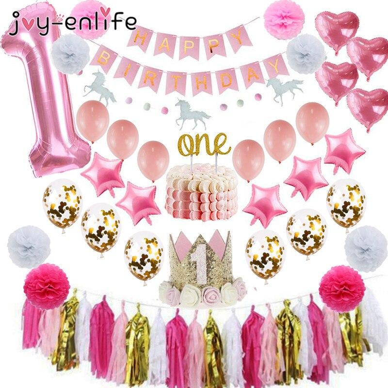 Decorações para meninas de 1 ° aniversário, decoração de coroa do bebê, primeiro aniversário, decoração de um bolo, chá de bebê, 1 ° ano de suprimentos