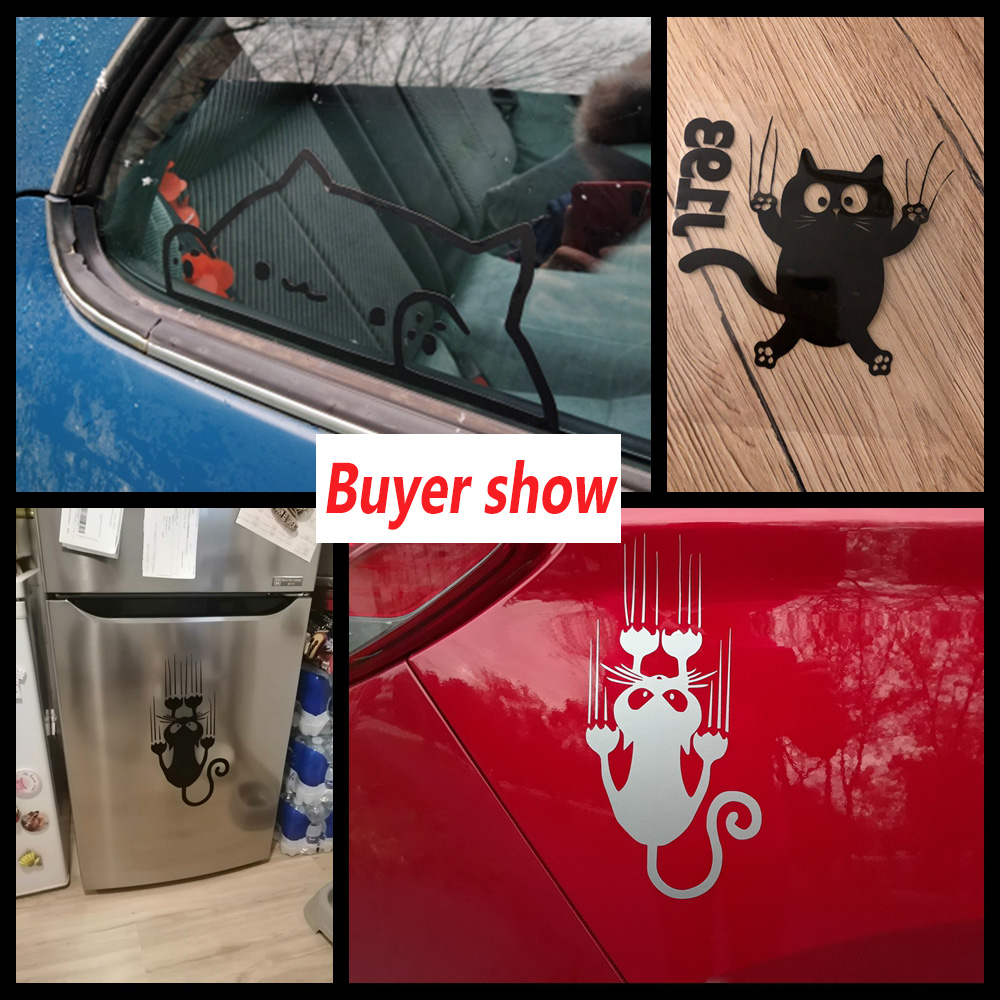 10 Styles Cat Car Stickers Funny Wrap Vinyl Cute For Cars Window Body Decoration to cover scratches Motorcycle Decal Stickers