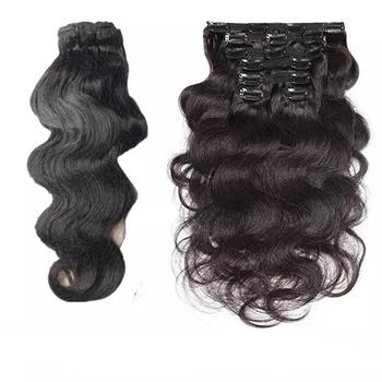 Halo Lady Beauty ciało fala klip Ins ludzkie włosy włosy naturalne rozszerzenia podwójne pasma 120g 8 sztuk zestaw klipy włosy brazylijski włosy nie Remy tanie i dobre opinie falowane CN (pochodzenie) Nie remy włosy Tylko ciemniejszy kolor Realny kolor Brazylijskie włosy