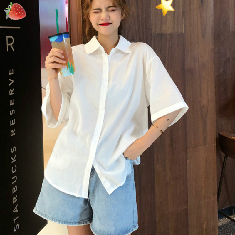 Hirigin Autumn Harajuku Style Casual Shirt Half Sleeve Fashion Elegant Vacation Tops Blouse 2020 New Fashion