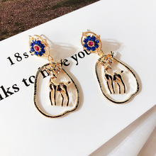 Girl Snowflake Elk Earrings Korea Personality Retro Exaggeration Christmas Metal Stud Earring for Women Fashion Accessories