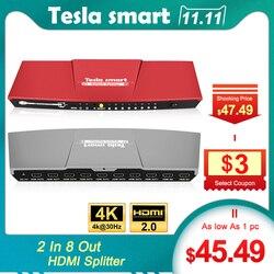 Tesla smart 2 in 8 HDMI Switch Splitter 2x8 mit IR Remote Dual Display Auflösung bis zu 4K (3840*2160) 1080P 3D, Grau, Rot