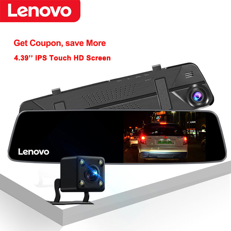 Original lenovo 4.3 mirror mirror espelho retrovisor com câmera traseira traço cam hd completo 1080 p ips tela de toque visão noturna carro dvrs dashcam