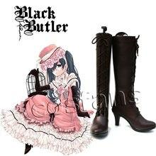 Bottes de Cosplay pour filles, noir, majordome, Ciel fantôme, robe de demoiselle, tenue uniforme, chaussures de Cosplay