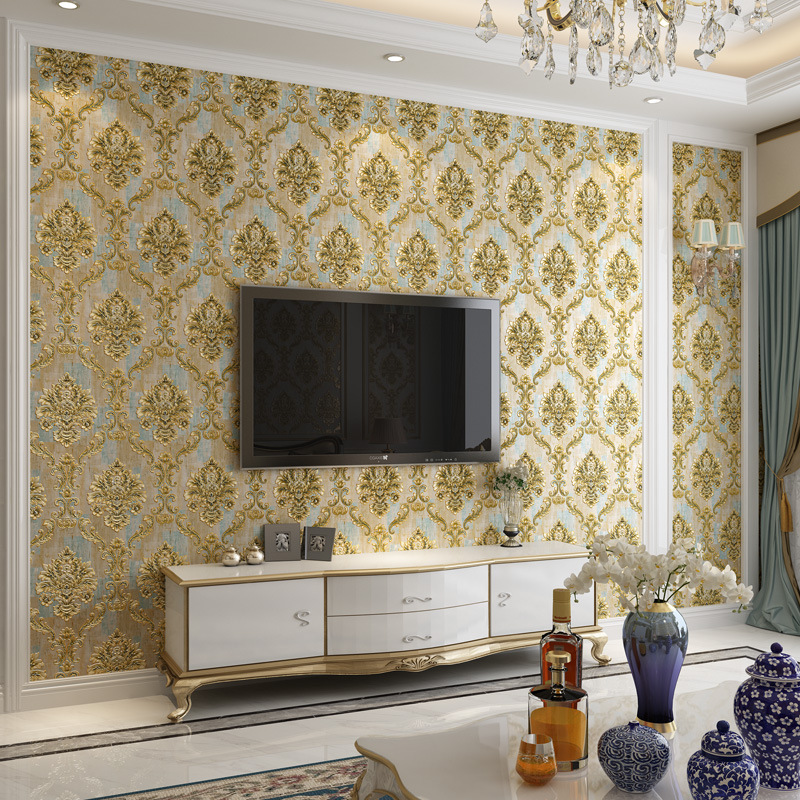 European Style Luxury Non-woven Wallpaper Damascus Bedroom Living Room Television Background Wall 3D Relief Wallpaper