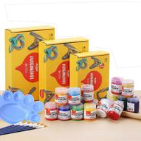 20 24 COLORS 50ML Acrylic Paints set for Painting Textile Fabric Manicure Nail Wond Craft Paints Art with 6 Brushes & 1 Palette