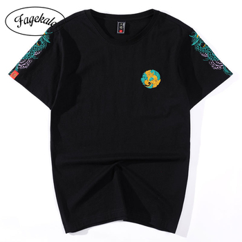 Chinese style dragon pattern embroidered cotton short-sleeved T-shirt male popular loose couple compassionate shirt