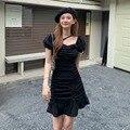 Летнее женское платье с оборками в стиле ретро, Пляжное праздничное модное платье, сарафан 2021, повседневные элегантные облегающие платья с ...