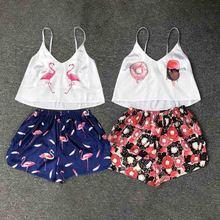 Animal Print Silk Pajamas for Women Pijamas Strap Sleeveless Sexy Sleepwear Female Summer
