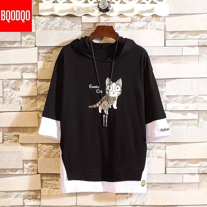 Short Sleeve Funny Cartoon Cat Print Cotton Hooded Sweatshirts Men Hip Hop Japan Pullover Male Autumn Streetwear Casual Hoodies