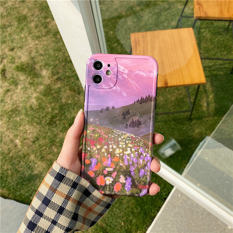 INS Cute Flowers Painting Phone Case For iphone 11 Pro max X XR XS Max 7 8 plus SE 2 2020 back cover Fashion luxury Soft Cases image